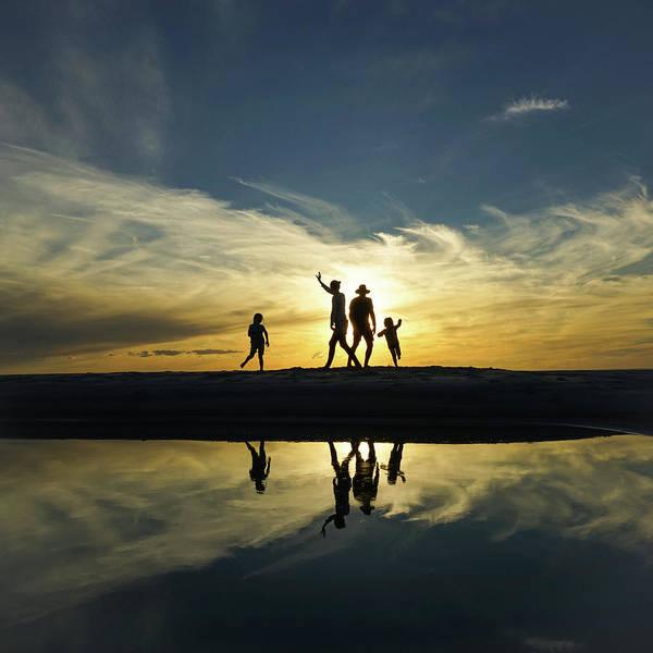 Beach Dancing At Sunset Poster