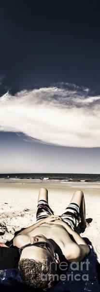 Beach Holiday Man Vertical Panorama Poster