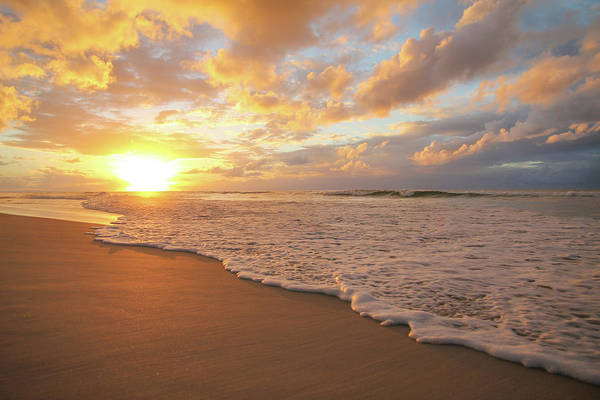 Beach Sunset With Golden Clouds Poster