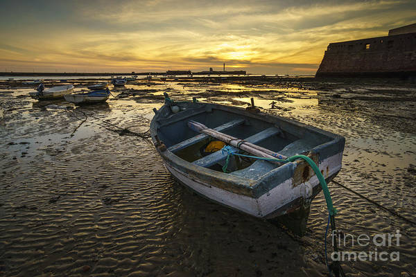 Beached Boat On La Caleta Cadiz Spain Poster