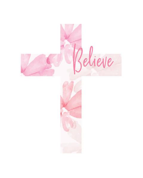 Believe Floral Cross- Art By Linda Woods Poster