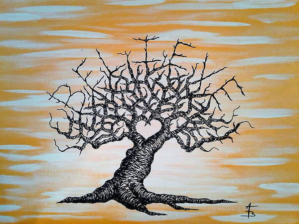 Poster featuring the drawing Believe Love Tree by Aaron Bombalicki