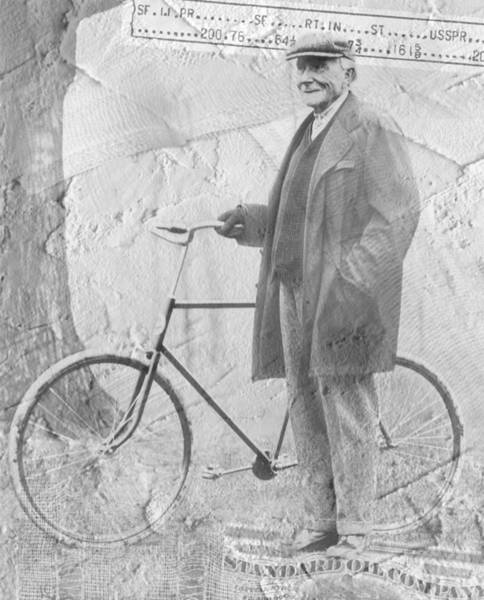 Bicycle And Jd Rockefeller Vintage Photo Art Poster