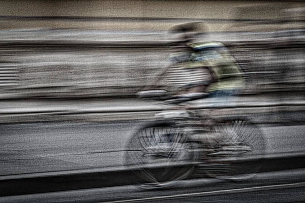 Bicycle Rider Abstract Poster