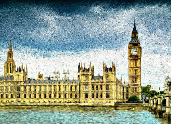 Big Ben And Houses Of Parliament With Thames River Poster