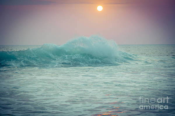 Big Ocean Wave At Sunset With Sun Poster
