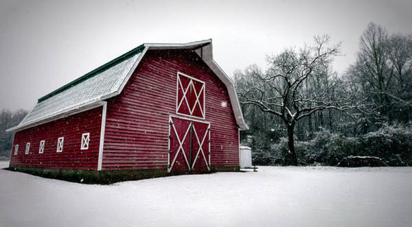 Big Red Barn In Snow Poster