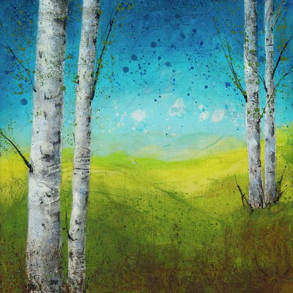 Birches In Green Poster