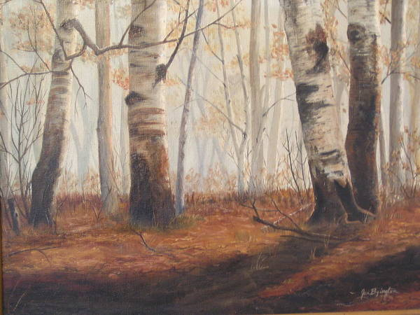 Poster featuring the painting Birches by Jan Byington
