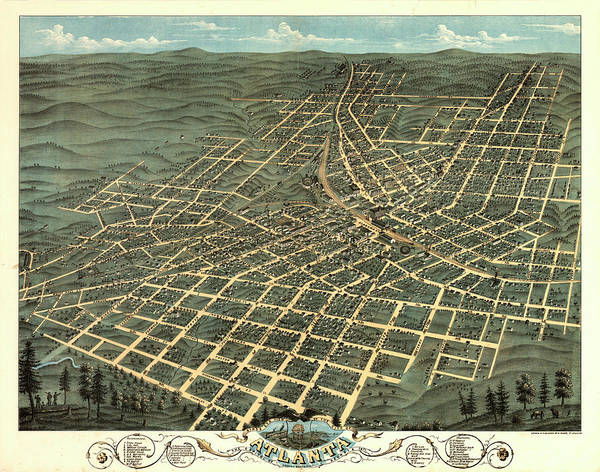 Birds Eye View Of The City Of Atlanta, The Capitol Of Georgia 1871 Poster
