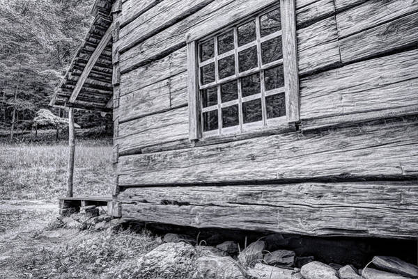Black And White Cabin In The Forest Poster