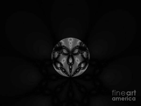 Black And White Globe Fractal Poster