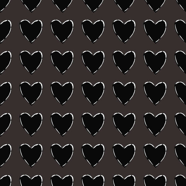 Black And White Hearts 1- Art By Linda Woods Poster