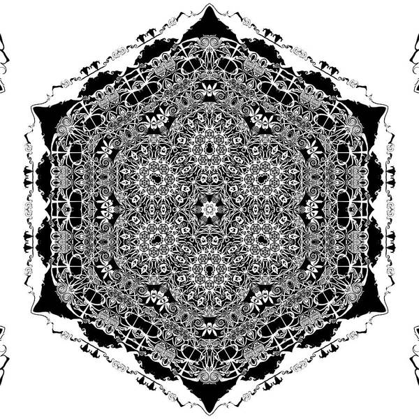 Poster featuring the digital art Black And White Mandala 15 by Robert Thalmeier