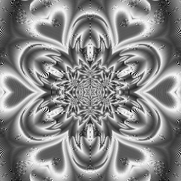 Poster featuring the digital art Black And White Mandala 9 by Robert Thalmeier