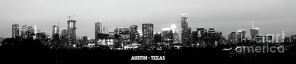 Black And White Panoramic View Of Downtown Austin Poster