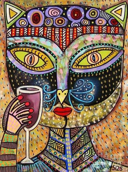 Black Cat Drinking Red Wine Poster