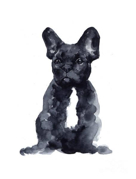 Black French Bulldog Watercolor Poster Poster