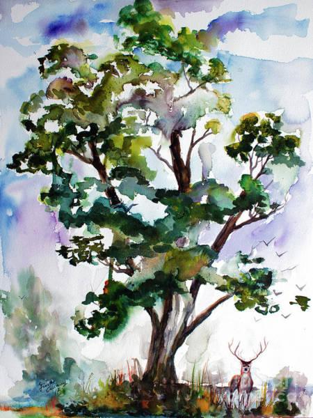 Black Locust Tree And Deer Landscape Portrait Poster