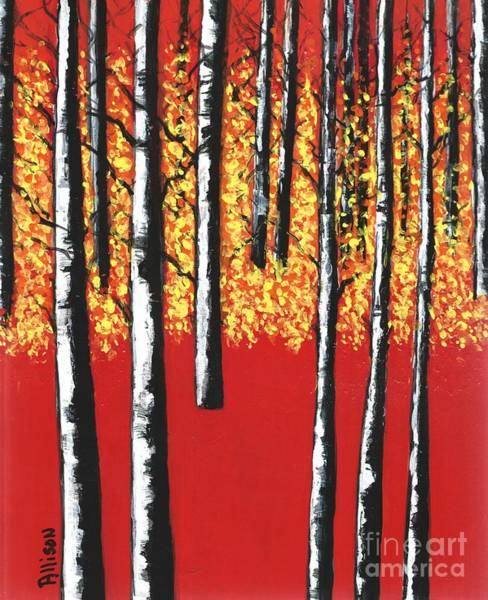 Blazing Birches Poster