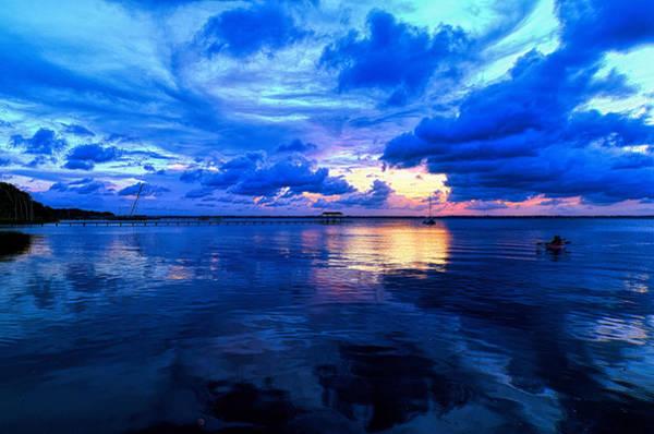 Blazing Blue Sunset Poster