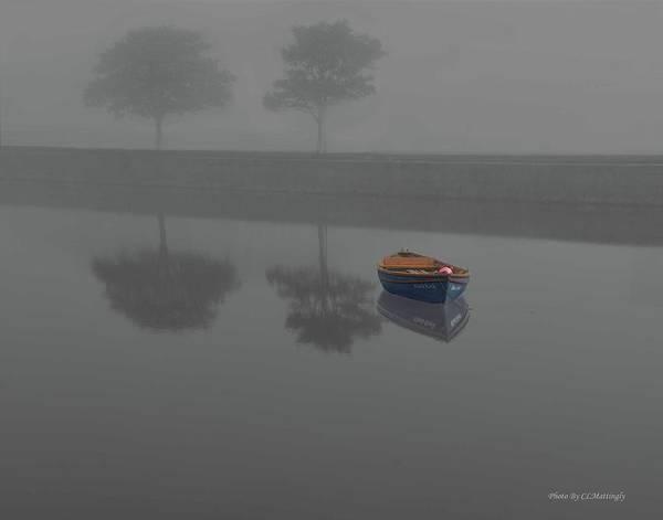 Blue Boat In Fog Poster