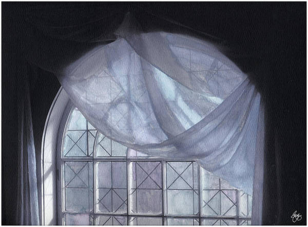 Hand-painted Blue Curtain In An Arch Window Poster