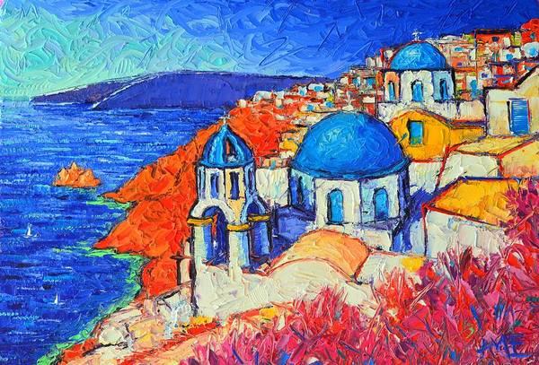 Blue Domes In Oia Santorini Greece Original Impasto Palette Knife Oil Painting By Ana Maria Edulescu Poster