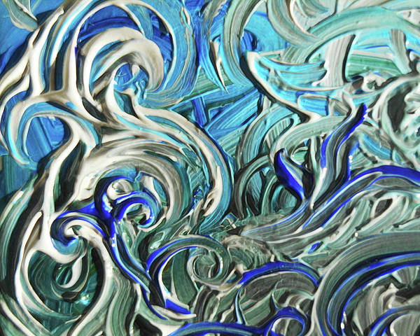 Blue Gray Acrylic Brush Strokes Abstract For Interior Decor IIi Poster