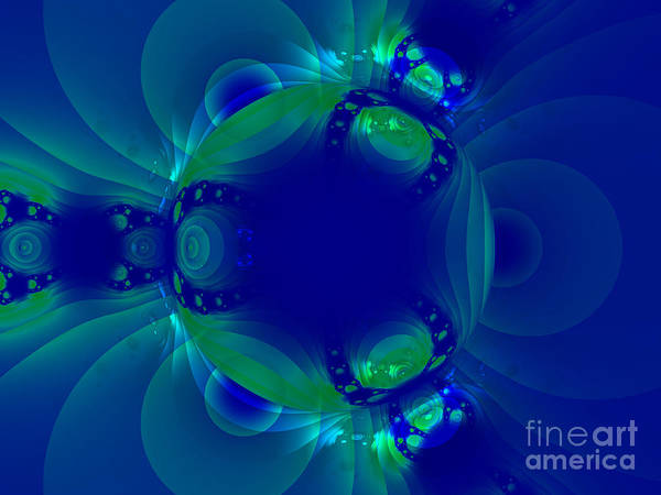 Blue Green Globe Luminant Fractal Poster