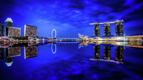Blue Hour At Marina Bay Poster