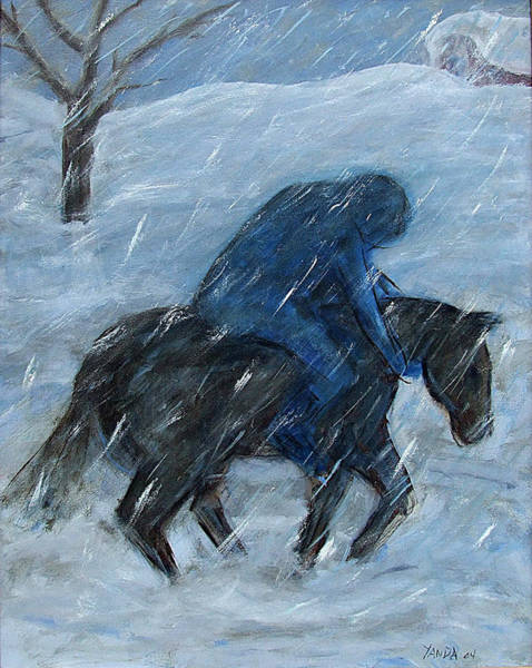 Blue Rider On Horse Poster