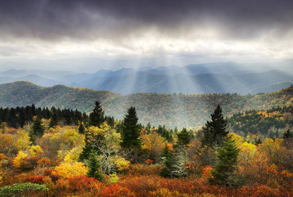 Blue Ridge Parkway Light Rays - Enlightenment Poster