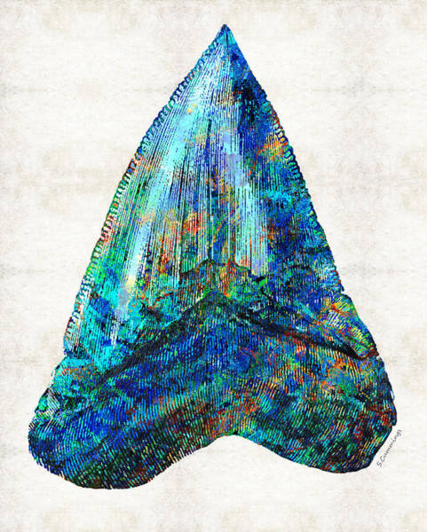 Blue Shark Tooth Art By Sharon Cummings Poster