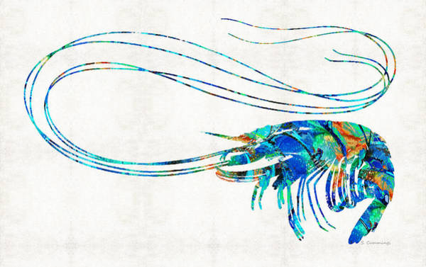 Blue Shrimp Art By Sharon Cummings Poster