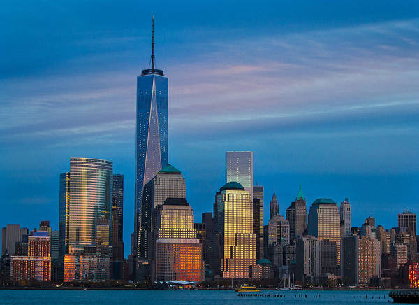 Blue Sunset At The World Trade Center Poster