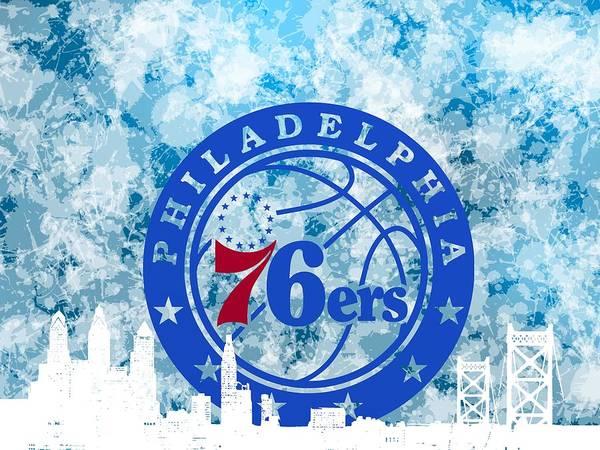 bluish backgroud for Philadelphia basket Poster