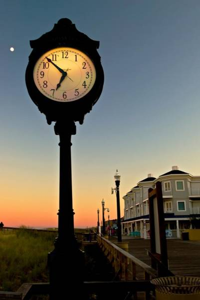 Boardwalk Clock With Rising Moon. Bethany Beach. Poster