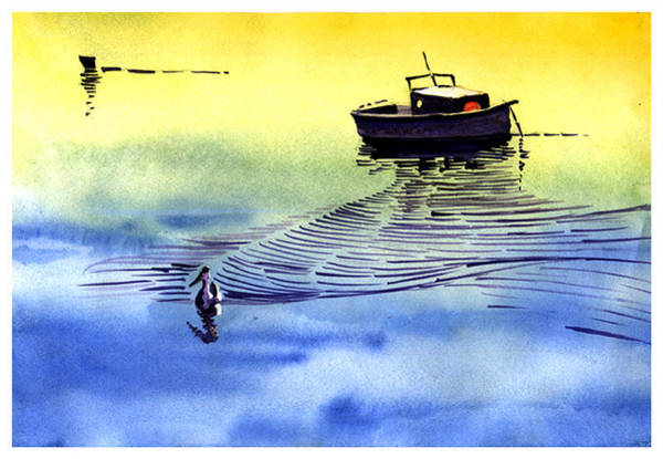 Boat And The Seagull Poster