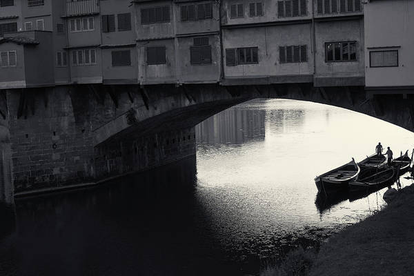Boatmen And Ponte Vecchio, Florence, Italy Poster
