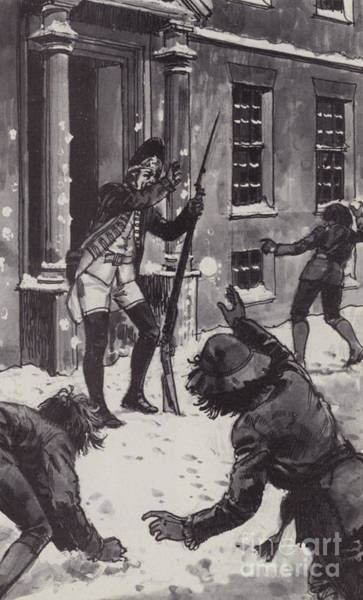 Boston 1770, Boys Pelting A British Sentry With Snowballs Poster