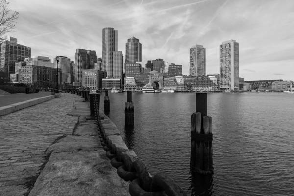 Boston Cityscape From The Seaport District In Black And White Poster
