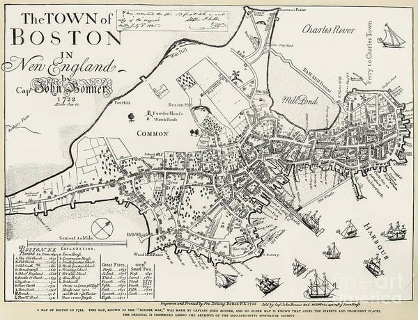 Boston Map, 1722 Poster