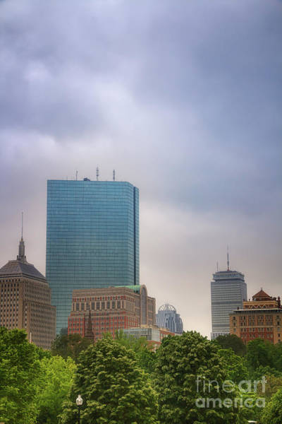 Boston Skyline From Public Garden Poster