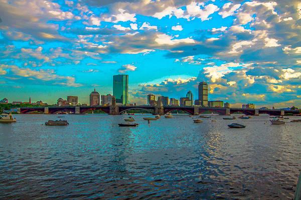 Boston Skyline Painting Effect Poster