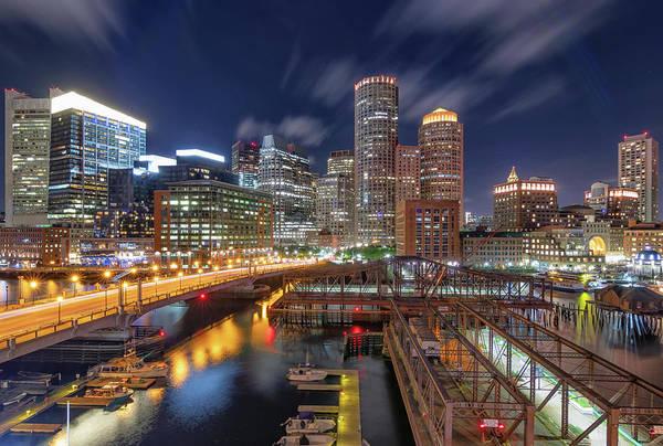 Boston's Skyline At Night Poster