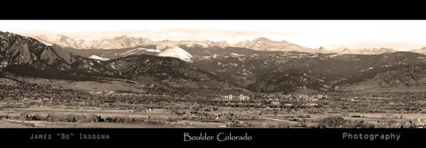 Boulder Colorado Sepia Panorama Poster Print Poster