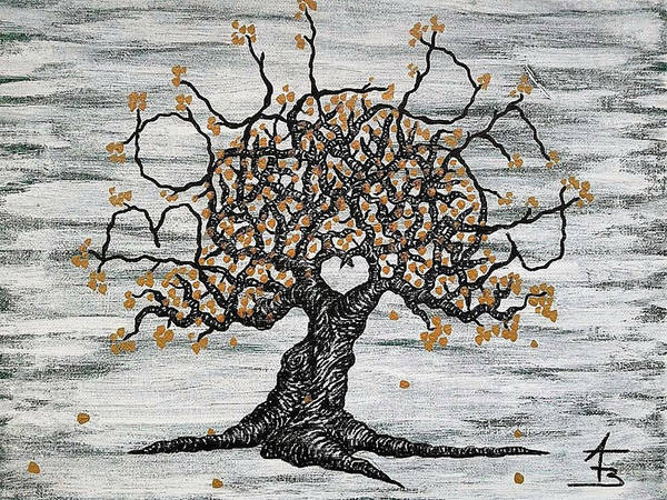 Poster featuring the drawing Boulder Love Tree by Aaron Bombalicki