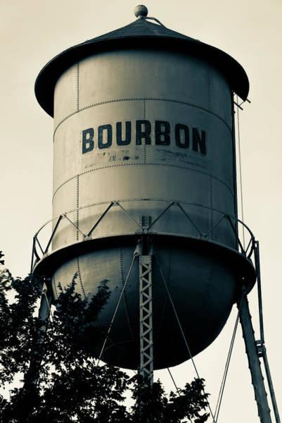 Bourbon Whiskey Vintage Water Tower - Missouri - Sepia Poster