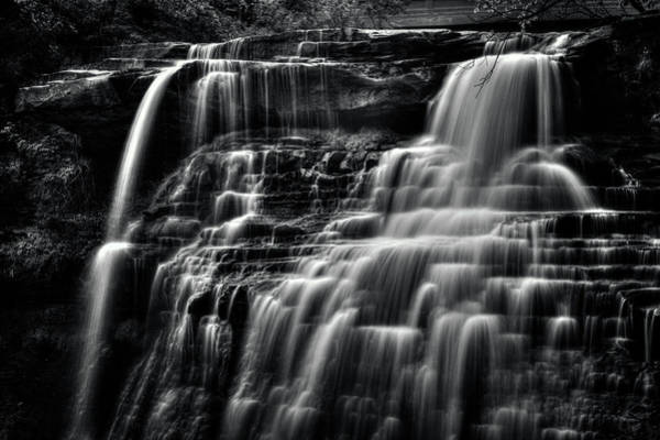Brandywine Falls At Cuyahoga Valley National Park B W Poster